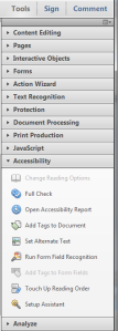 Accessibility options in Acrobat